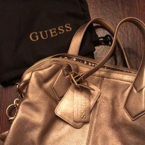 GUESS Gold Metallic Satchel with Strap